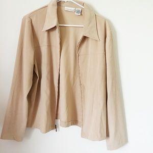 Croft & Barrow stretch tan zip up jacket large